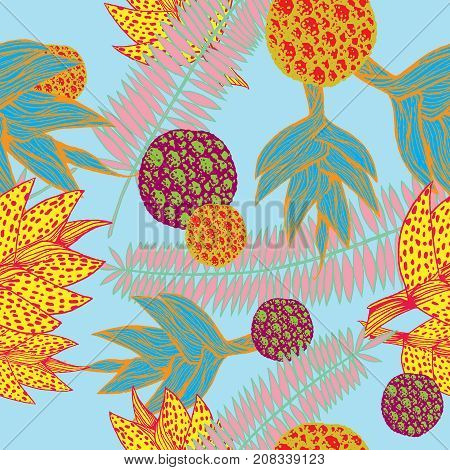 vector illustration of a hand drawn seamless pattern with plants inspired by tropical botany in vivid colors