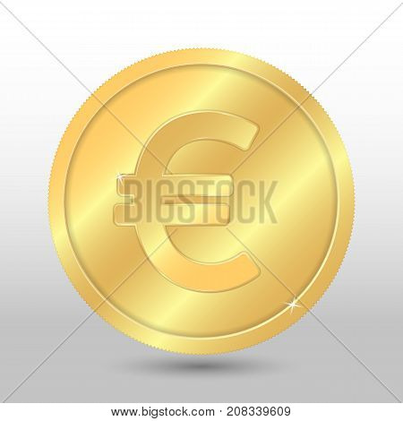 Realistic gold coin with euro sign. Vector coin on gray background
