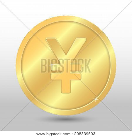 Realistic gold coin with yen sign. Vector coin on gray background