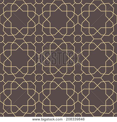 Seamless brown and golden background for your designs. Modern vector ornament. Geometric abstract pattern