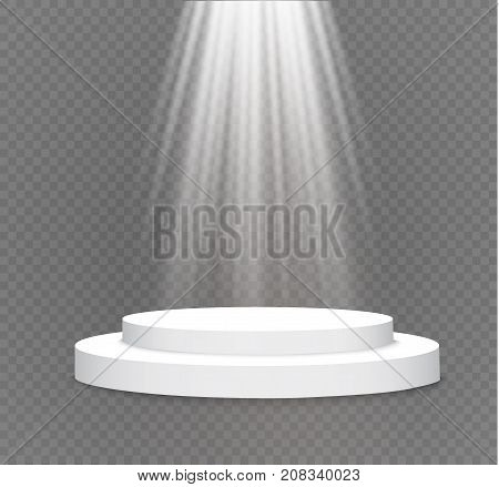 podium on a transparent background.the podium of winners with bright lights.spotlight.lighting.vector illustration.attention.