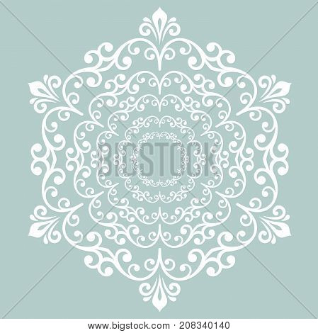 Elegant vector ornament in classic style. Abstract traditional pattern with oriental elements. Classic round white vintage pattern