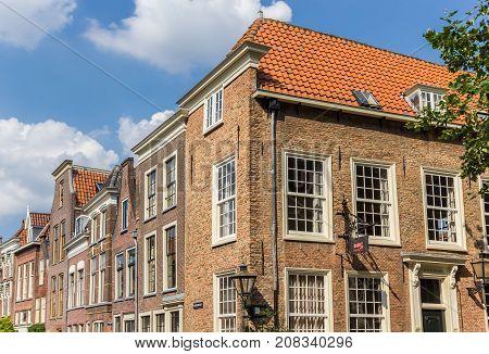 LEIDEN, NETHERLANDS - SEPTEMBER 03, 2017: Old houses in the historic center of Leiden Holland