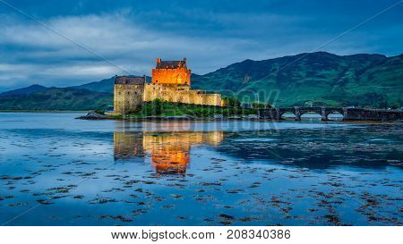 Amazing Dusk Over Loch At Eilean Donan Castle, Scotland