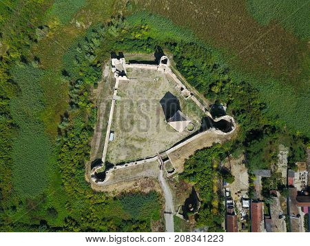 Air view of ruins of Bac fortress in Serbia walls and donjon tower