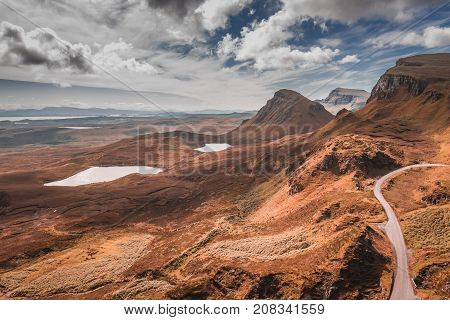 Quiraing In Isle Of Skye In Brown Tone, Scotland
