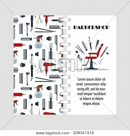 Vector template for barbershop. Hair salon equipment and tools - hairdryer, comb, scissors, hairclipper, curling, hair straightener, chair. Cover design for print.