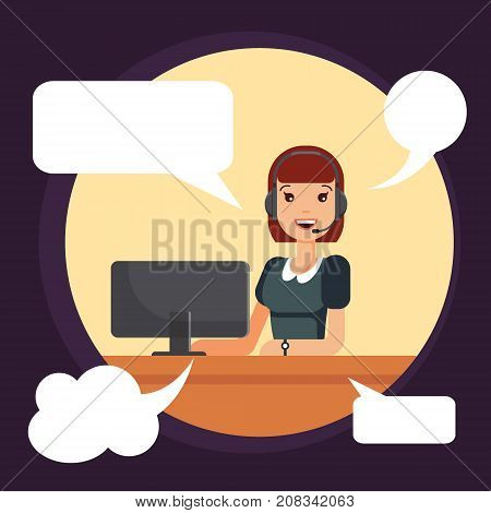 Call center smiling woman worker by computer. Dispatcher, helpline operator uses headphones for work - vector illustration.