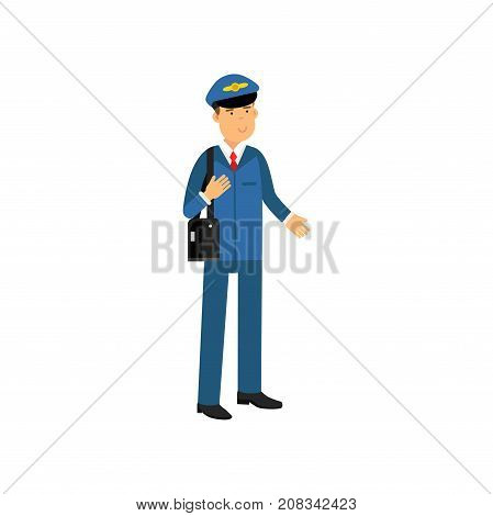 Airline pilot in blue uniform standing with bag, aircraft captain vector Illustration on a white background
