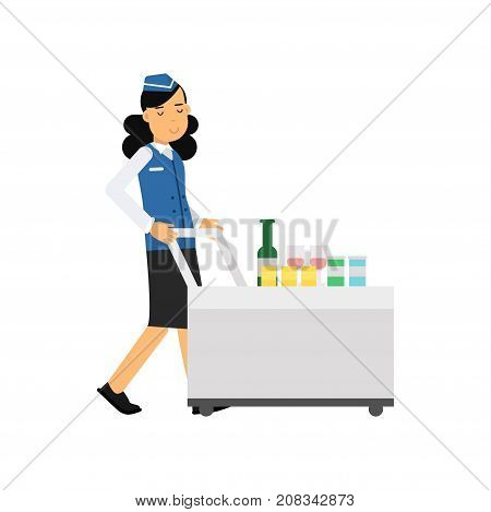 Stewardess in uniform serving passengers on the airplane with cart, airline working process vector Illustration on a white background