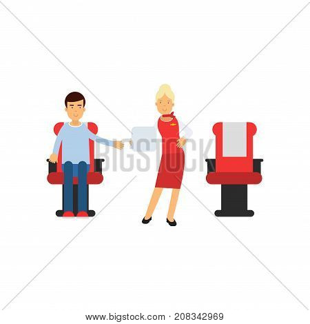 Stewardess in red uniform serving passengers on the airplane, airline working process vector Illustration on a white background