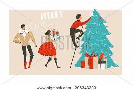 Hand drawn vector abstract fun Merry Christmas time illustration greeting card with group of people, many surprise gifts boxes and Christmas tree isolated on craft paper background