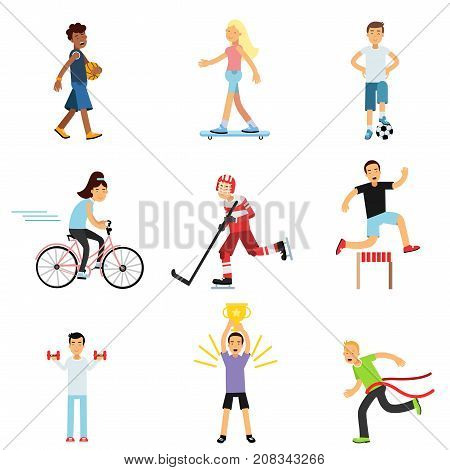 Teen boys and girls engaging in different sports activities, active lifestyle, sportive children practicing in class gym and outdoors cartoon vector Illustrations on a white background