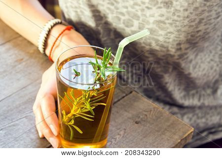 Woman (girl) Drink Kombucha