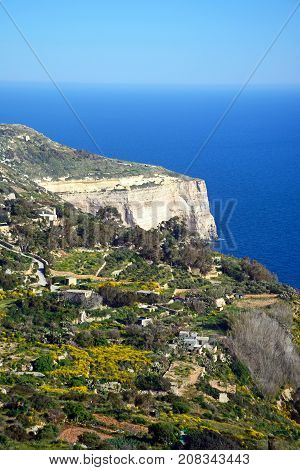 Elevated view of the Dingli cliffs and sea Dingli Malta Europe.