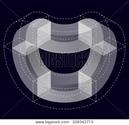 Abstract curved vector shape reminiscent of technological development, nanotechnology component. Isometric brand of scientific institution, research center, laboratories, spatial paradox on black.
