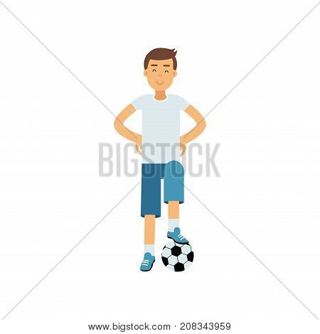Active teen boy palying a soccer ball, boy doing sport, active lifestyle vector Illustration on a white background