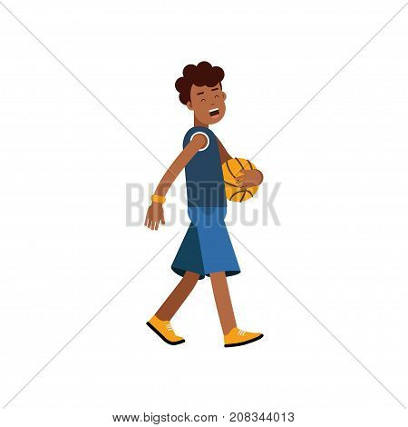 Active teen boy palying basketball, boy doing sport, active lifestyle vector Illustration on a white background