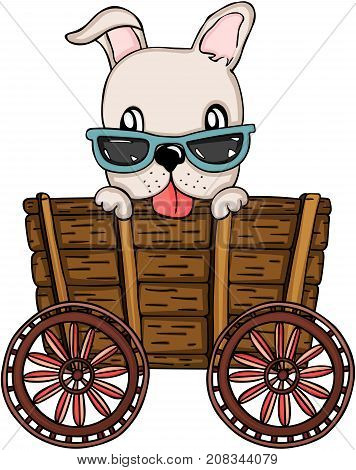 Scalable vectorial image representing a cute dog peeking out wooden trolley, isolated on white.
