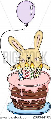 Scalable vectorial image representing a funny rabbit with a balloon and birthday cake, isolated on white.