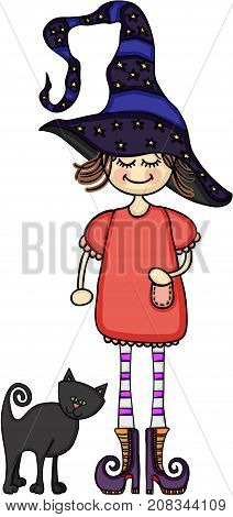 Scalable vectorial image representing a girl dressed as a witch with a black cat, isolated on white.