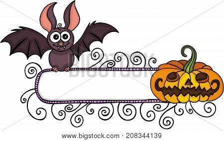 Scalable vectorial image representing a Halloween blank label banner with bat and pumpkin, isolated on white.