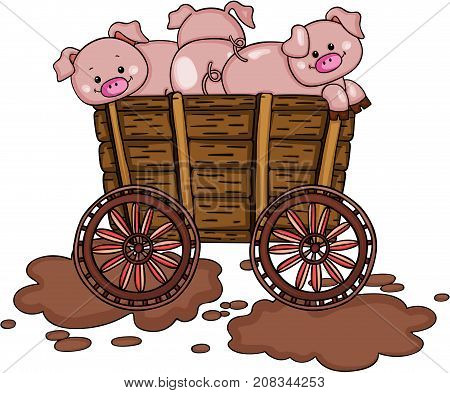 Scalable vectorial image representing a three pigs on wooden trolley, isolated on white.