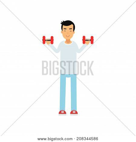 Active teen boy exercising with dumbells, active lifestyle vector Illustration on a white background