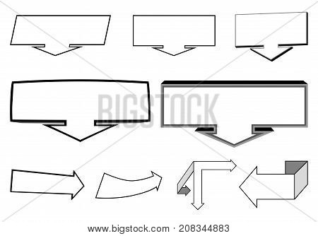 A set of 2D and 3D arrows elements and indicators for the headliner caption emphasis