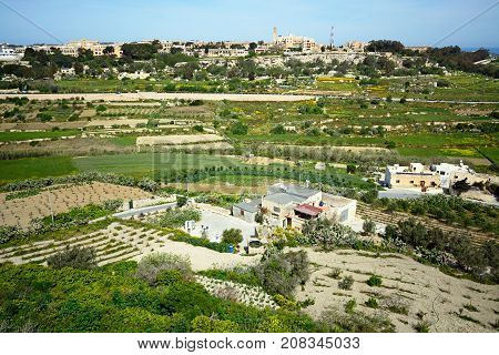 IMTARFA, MALTA - APRIL 1, 2017 - Elevated view of the town and surrounding countryside during the Springtime Imtarfa Malta Europe, April 1, 2017.