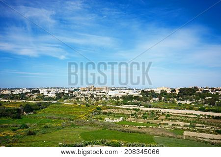 Elevated view of the town and surrounding countryside during the Springtime Imtarfa Malta Europe.