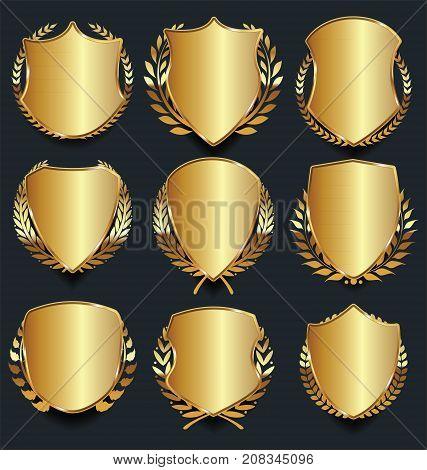 Golden Shield Retro Design Vector Illustration Collection 2.eps