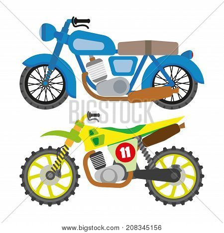 Motorcycle motorbike flat vector icons set. Speed motorcycle collection. Vector Illustration. Isolated on white.