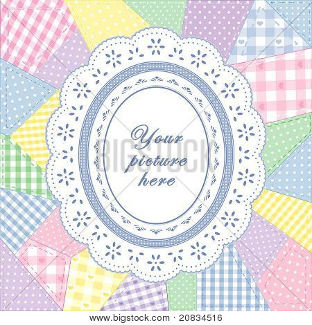 Patchwork Quilt, Oval Eyelet Lace Doily Frame