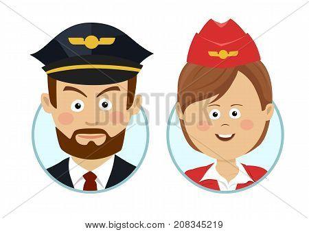 Young serious pilot and beautiful stewardess avatars on white