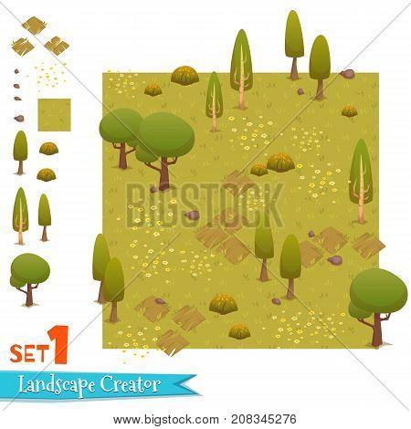 Set of autumn forest landscape. Vector illustration