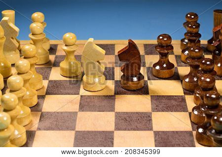 Black and White horse of chess setup on dark background . Leader and teamwork concept for success. Chess concept save the king and save the strategy.
