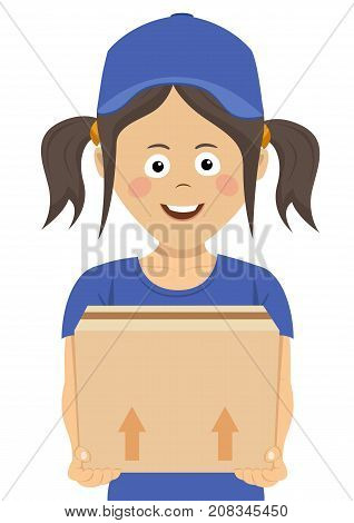 Happy teenager courier holding a cardboard box on white