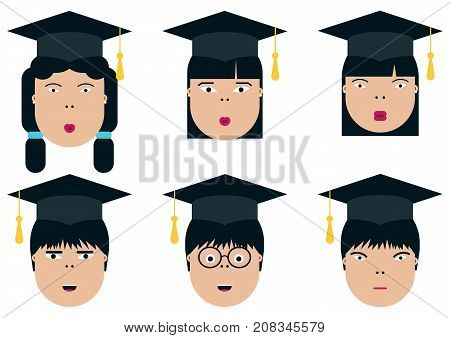 Asian children students. Graduation class. School Boys and Girls vector illustration. Graduation students vector set