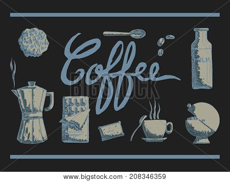vector illustration of hand drawn ustensils of coffee time with cup biscuit spoon coffee maker and sugar on a dark background