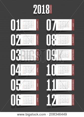 Calendar 2018 year. Week starts from Sunday, eps 10