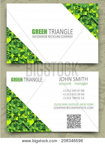 Green Triangles Modern Business Card Design Template. White Diagonal Space On Pattern Background. Vo