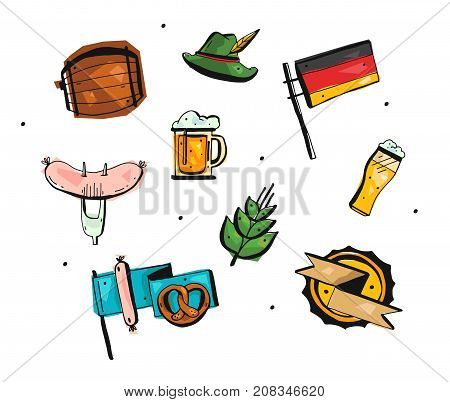 Hand drawn vector abstract freehand oktoberfest icons set.