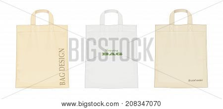 Shopping bag. Set of shop accessoryes for foodstuff. Bags mockup Isolated white background. Vector illustration.