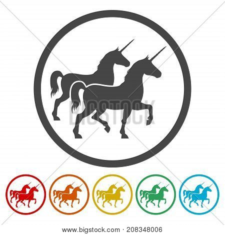 Silhouette of Two Unicorn Horse icon, simple vector icon