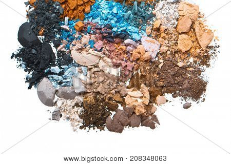 multicolor crushed eyeshadows isolated on white background
