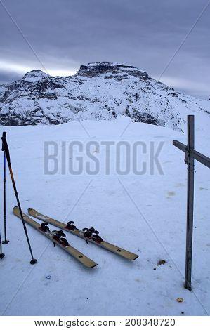 cross on cazzola peak in alpe devero