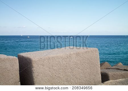Breakwater on the sea seen close up