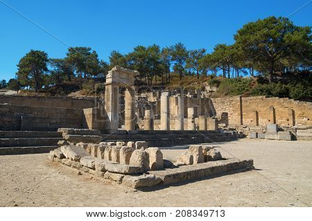 Archaeological site of ancient Kamiros in Rhodes Greece island