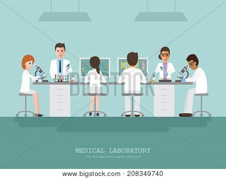 Professor doctor scientist and science technician doing research and analysis in medical science laboratory. Vector illustration of flat design people characters.